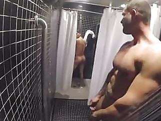 Cruising in the gym showers bareback (gay) hunk (gay) locker room (gay)