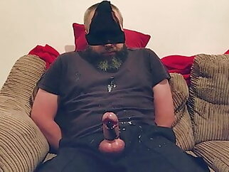 Daddy tied up with vibrator on cock bear cum tribute daddy