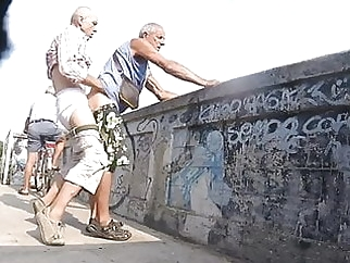 Grandpa cruising and getting fucked outdoors amateur (gay) bareback (gay) big cock (gay)