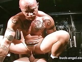 Man with the Pussy Buck Angel in HOT Tattoo 3 way gangbang gay