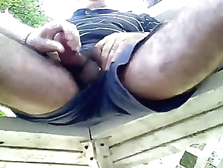 stroking daddy cock by stranger at the park big cock (gay) daddy (gay) handjob (gay)