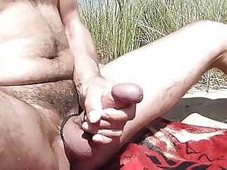 In the dunes at public beach playing with cock and cumming 3:24 2014-07-17