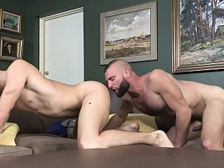 FamilyDick - Hairy Stepdad Barebacks His Blond Stepson asslick (gay) bareback (gay) blowjob (gay)